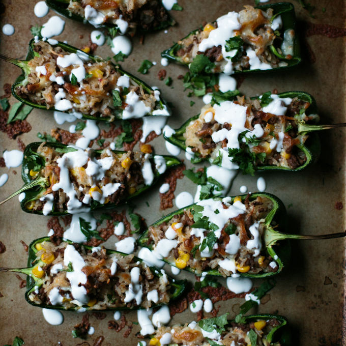 Spicy Stuffed Poblano Peppers with a Fresh Lime Crema