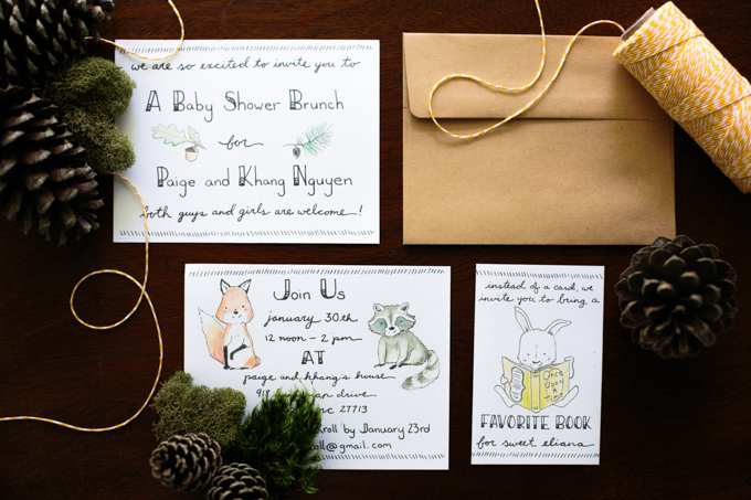 DIY Handlettered Woodland Themed Baby Shower Invitations