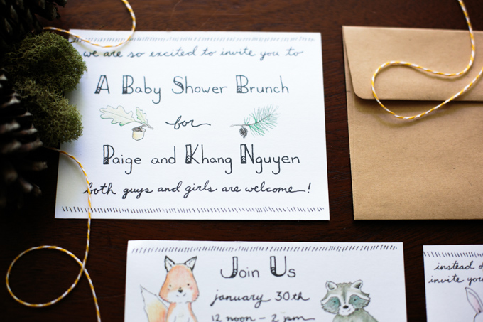 a68f90611 DIY: Handlettered Woodland Themed Baby Shower Invitations