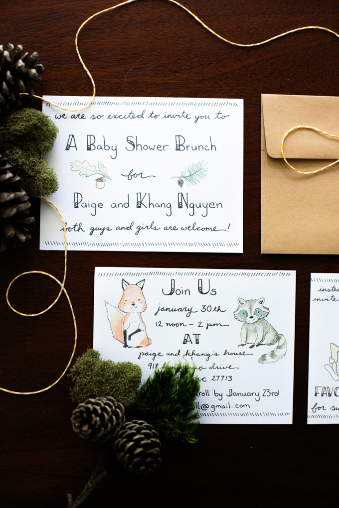 DIY: Handlettered Woodland Themed Baby Shower Invitations