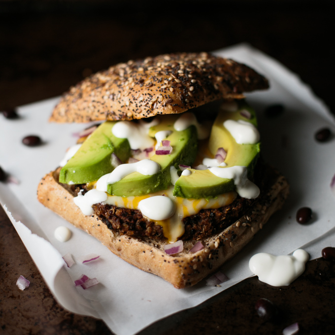 Quinoa Black Bean Burgers with Lime Crema