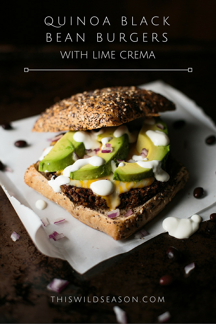Quinoa Black Bean Burgers with Lime Crema by thiswildseason.com