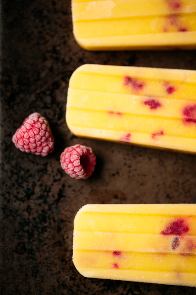 Raspberry Mango Popsicles by thiswildseason.com -4