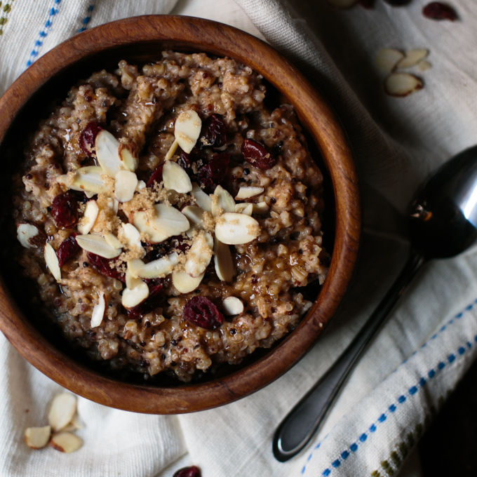 Slow Cooker Maple Spiced Steel Cut Oats and Quinoa