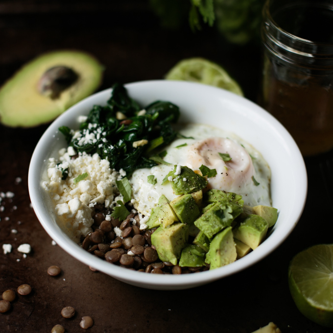 Green Lentil Bowl with Sautéed Spinach and Avocado